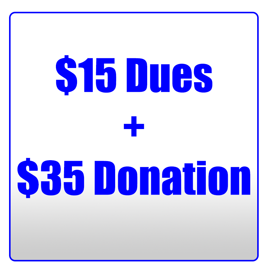 button to pay dues and make 35 donation